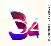 number thirty four 34 with...   Shutterstock . vector #753685294