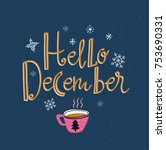 vector winter card with cup of... | Shutterstock .eps vector #753690331