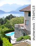 Holiday villa overlooking lake Como, Italy - stock photo