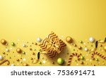 christmas and new years golden... | Shutterstock .eps vector #753691471