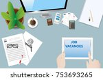 top view of the office desk... | Shutterstock .eps vector #753693265