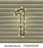 number from the christmas light ... | Shutterstock .eps vector #753695329