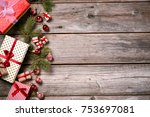 merry christmas. decoration for ... | Shutterstock . vector #753697081