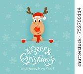 christmas character deer behind ... | Shutterstock . vector #753700114