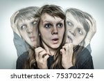 woman with split personality... | Shutterstock . vector #753702724