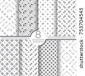 set of vector seamless patterns.... | Shutterstock .eps vector #753704545
