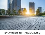empty wooden footpath with... | Shutterstock . vector #753705259