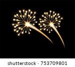festive golden firework salute  ... | Shutterstock .eps vector #753709801