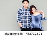 portrait couple of love ...   Shutterstock . vector #753712621