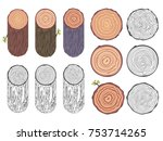 tree rings saw cut tree trunk... | Shutterstock .eps vector #753714265