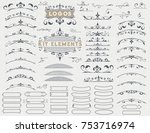 kit of 75 vintage elements for... | Shutterstock .eps vector #753716974