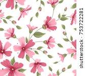 gypsophila seamless floral... | Shutterstock .eps vector #753722281