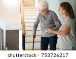 homecare helping elderly woman... | Shutterstock . vector #753726217
