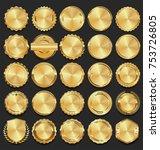 golden sale frame badge and... | Shutterstock .eps vector #753726805