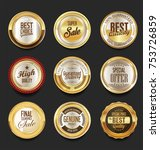 golden sale frame badge and... | Shutterstock .eps vector #753726859