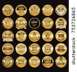 golden sale frame badge and... | Shutterstock .eps vector #753726865