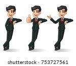 set of businessman in black... | Shutterstock .eps vector #753727561