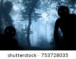 two monsters with green eyes in ... | Shutterstock . vector #753728035