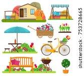 set of beautiful garden scene...   Shutterstock . vector #753728665