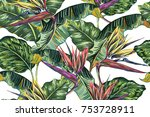 tropical flowers  jungle leaves ... | Shutterstock .eps vector #753728911