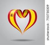 spanish flag heart shaped wavy...   Shutterstock .eps vector #753730309