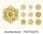 golden snowflakes collection....   Shutterstock .eps vector #753731071