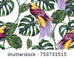 tropical seamless vector floral ... | Shutterstock .eps vector #753731515