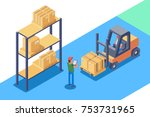 warehouse for storage and... | Shutterstock .eps vector #753731965