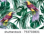 tropical seamless vector floral ... | Shutterstock .eps vector #753733831