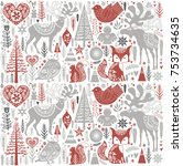 cute christmas pattern in... | Shutterstock .eps vector #753734635