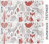 Cute Christmas pattern in Scandinavian style. Editable vector illustration
