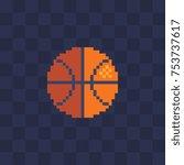 basketball. old school computer ... | Shutterstock .eps vector #753737617