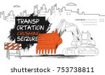 construction machinery trendy... | Shutterstock .eps vector #753738811