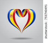 andorran flag heart shaped wavy ... | Shutterstock .eps vector #753740491
