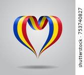 romanian flag heart shaped wavy ... | Shutterstock .eps vector #753740827