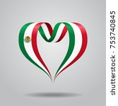 mexican flag heart shaped wavy... | Shutterstock .eps vector #753740845