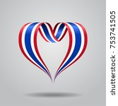 thai flag heart shaped wavy... | Shutterstock .eps vector #753741505