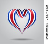 costa rican flag heart shaped... | Shutterstock .eps vector #753741535
