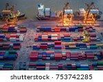 container ship in import export ... | Shutterstock . vector #753742285