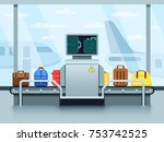 airport conveyor belt with... | Shutterstock .eps vector #753742525