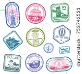 vintage passport travel vector... | Shutterstock .eps vector #753742531