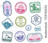 vintage passport travel vector... | Shutterstock .eps vector #753742531