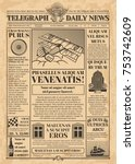 old newspaper vector template.... | Shutterstock .eps vector #753742609
