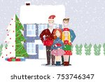young people friends outdoors... | Shutterstock .eps vector #753746347