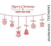 christmas greeting card with... | Shutterstock .eps vector #753746941