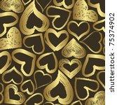 Golden Hearts Background Vector