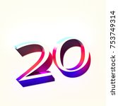 number twenty 20 with colorful... | Shutterstock . vector #753749314