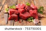 raw beef cube | Shutterstock . vector #753750301