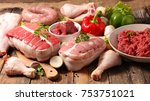 assorted variety of meat | Shutterstock . vector #753751021
