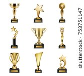 beautiful golden trophy cups... | Shutterstock . vector #753751147